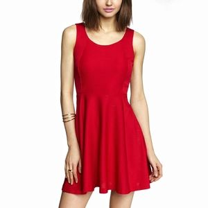 Express | Red Ribbed Fit & Flare Skater Dress | S